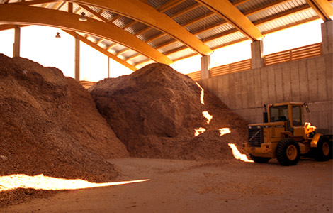 wood chips storage for steam power plant with Spilling steam engine